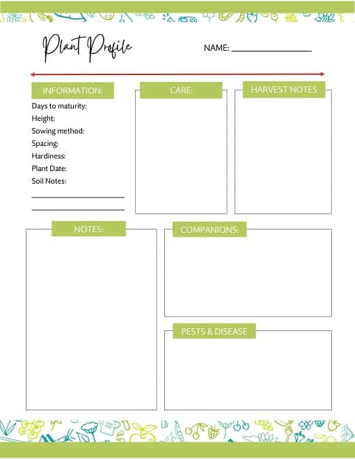 yearly garden planner sample page- crop profile page