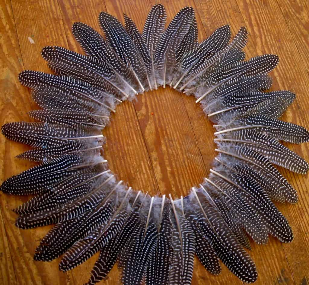 guinea feather wreath before flowers