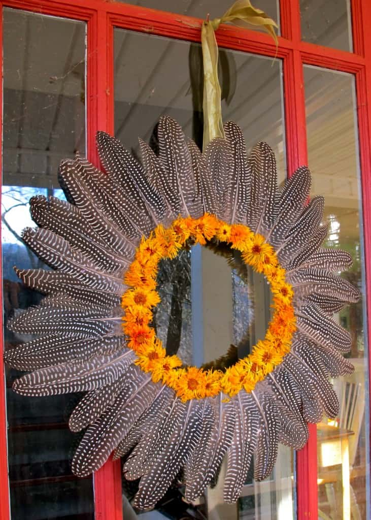 guinea feather wreath