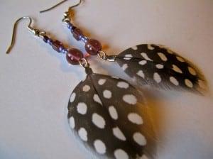 guinea feather earrings