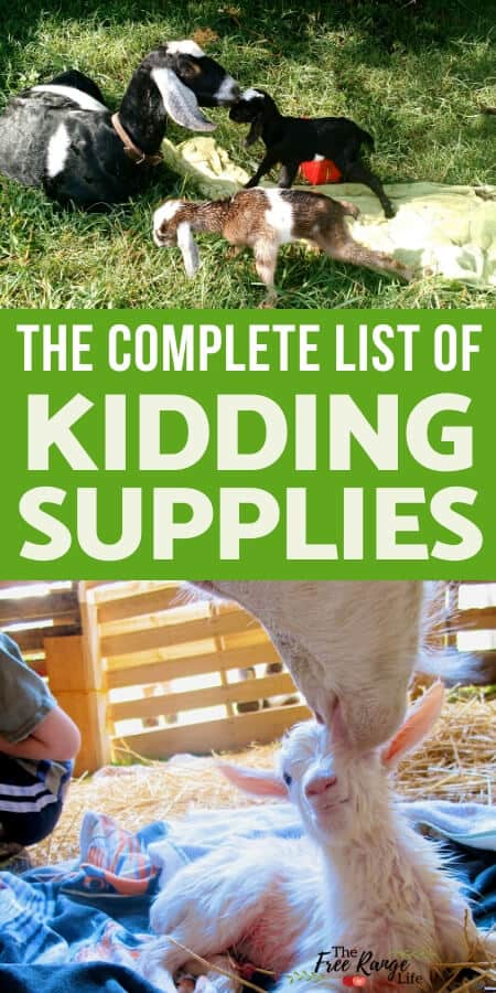 complete list of kidding supplies
