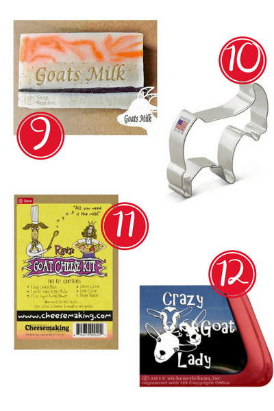 Need gift ideas for Goat Lovers? Here are 12 super cute gift ideas the crazy goat lady in your life is sure to love! Goat inspired gifts for any occassion!