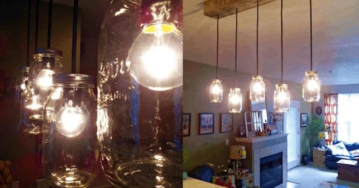 DIY Rustic Pallet & Mason Jar Light Fixture