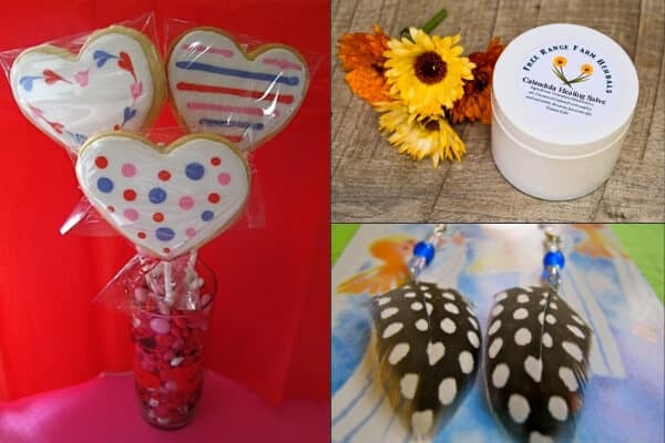 homemade cookies, salves and earring packaged for sale