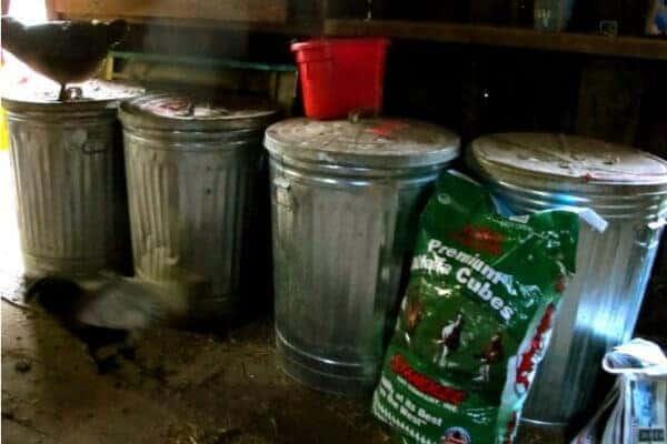 chicken coop storage cans