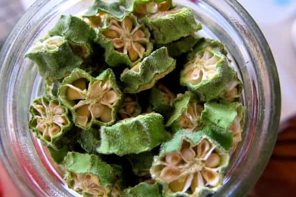 dehydrated okra seed pods