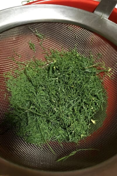 dried dill crushed over a strainer