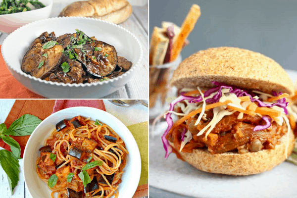 3 pictures of glazed eggplant in a bowl, eggplant pulled pork and eggplant with pasta