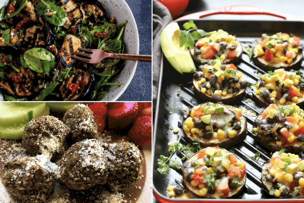 3 picture - eggplant and spinach salad, grilled eggplant with salsa and eggplant meat balls