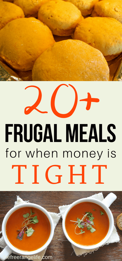 Food makes up lot of our budgets. But what do you do when money is really tight? Here are 20+ frugal meals to make when your budget is super small.