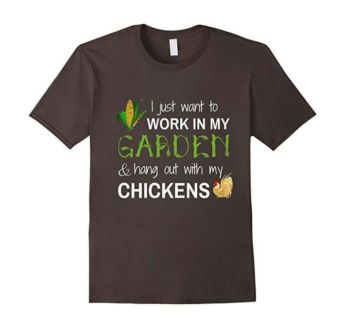 garden with chickens tshirt