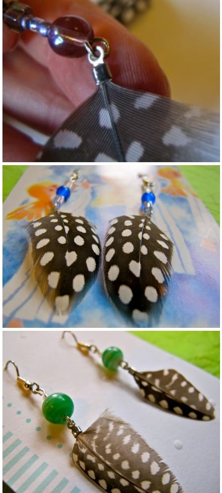 How to Make Guinea Feather Earrings