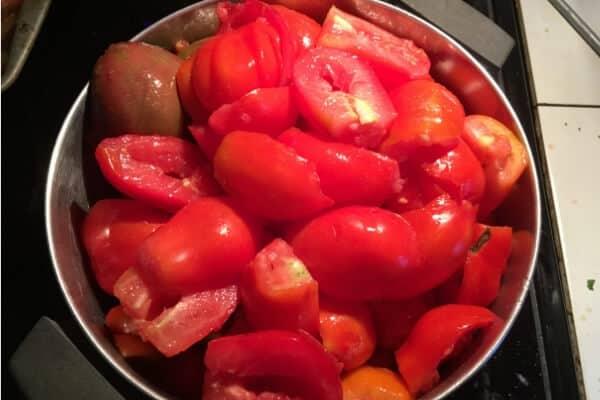 homemade ketchup- cut tomatoes