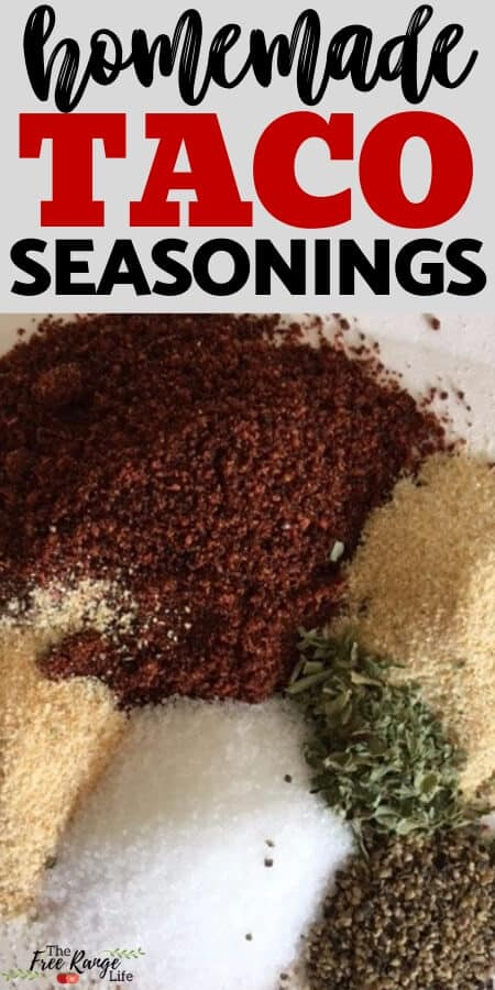 homemade taco seasonings with image of piles of spices mixed together