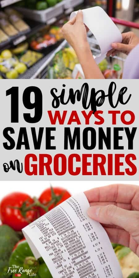 19 simple ways to sve money on groceries with woman shopping list and a grocery receipt