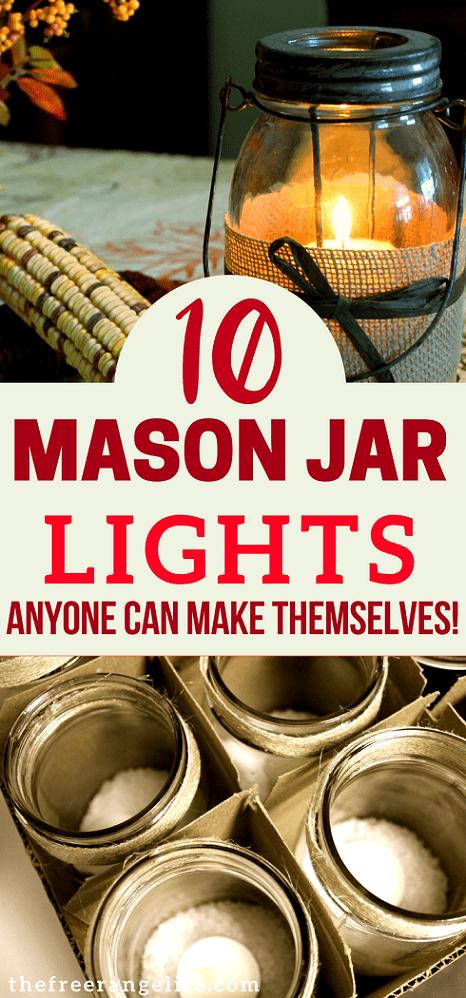 DIY Mason Jar Lights- 10 lights you can make with mason jars to decorate your home. Mason Jar Light Fixtures | Mason Jar Crafts