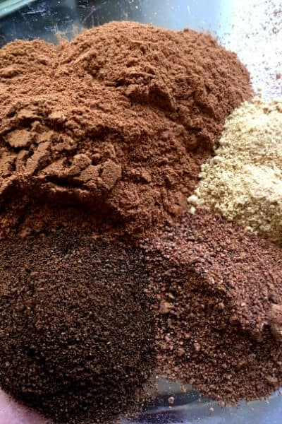 piles of spices to make pumpkin pie spice
