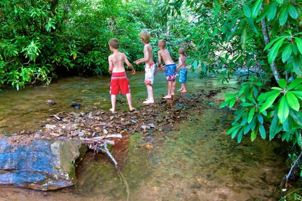 4 boys in swimsuits in a mountain creek on a camping vacation
