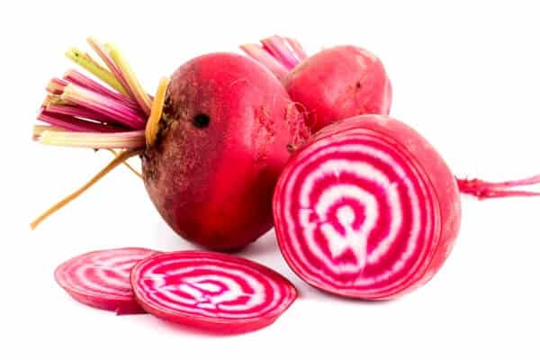 pink and white striped beets cut open