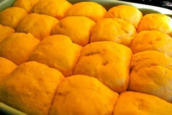 sweet potato rolls rising