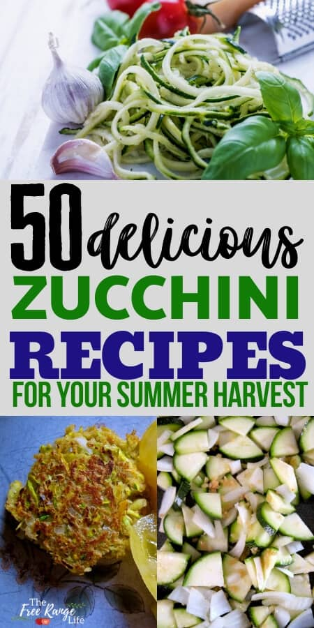50 zucchini recipes for your summer harvest text pictured with zucchini noodles, zucchini patty, and sauteed zucchini